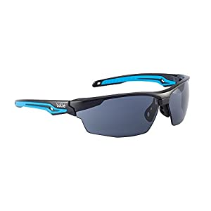 Bolle Safety Tryon Glasses with Smoke Lens, Black/Blue, Smoke