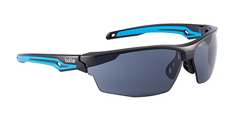 Bolle Safety Tryon Glasses with Smoke Lens, Black/Blue, Smoke