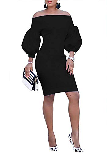 26289e6571 Ophestin Women Puff 3/4 Sleeve Off The Shoulder Bodycon Knee Length Party  Pencil Midi