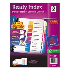 (6 Pack Value Bundle) AVE11133 Ready Index Contemporary Table of Contents Divider, 1-8, Multi, Letter