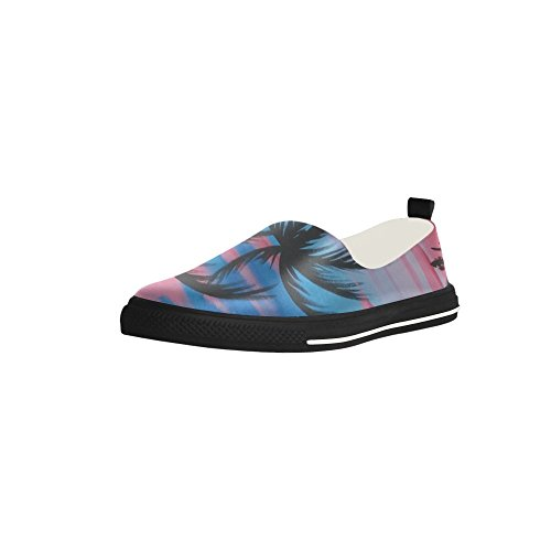 D-Story Custom Palm Tree Slip-on Microfiber Mens Shoes Sneaker fDSc989Bk