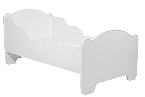 Lettino per bambini da letto per bambini BIANCO dimensione 140x70 con un materasso KOBI