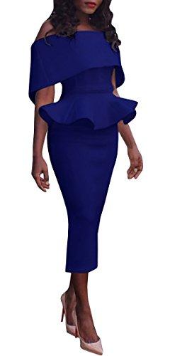 FISACE Women's Off Shoulder Ruffled Peplum Slim Fit Midi Dress for Party Plus Size (Sexy Plus Dress)