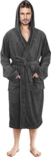 NY Threads Mens Hooded Robe - Plush Long Bathrobes for Men (Grey, L / XL)