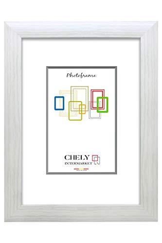 Chely Intermarket, Marco de Fotos 40x50cm MOD-257 (Blanco), Hecho de Madera MDF, Ancho de Bastidor 1,90cm con Acabado Elegante Estilo galeria Apto para certificados, Posters y orlas(257-40x50-0,95)
