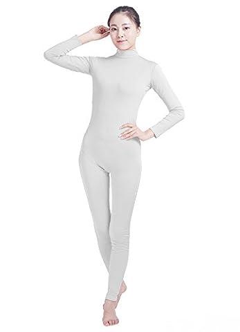 Ensnovo Womens Turtleneck Spandex Long Sleeve Front Zipper Footless Unitard White,M - Lycra Turtleneck Dress