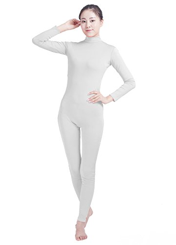 [Ensnovo Womens Turtleneck Spandex Long Sleeve Front Zipper Footless Unitard White,M] (Lycra Dance Costumes)
