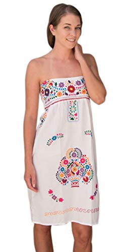 Liliana Cruz Strapless Hand Embroidered Mexican Dress (White, -