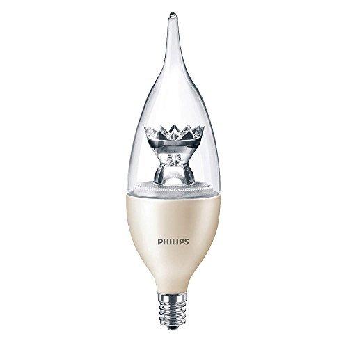 4.5 Watt - Dimmable LED - Decorative Torpedo - Clear Bent Tip - 40 Watt Equal - 2700K Warm White - 320 Lumens - Candelabra Base - 120 Volt - Philips 435164