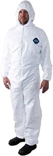 Tyvek Disposable Suit by Dupont with Elastic Wrists, Ankles and Hood (Extra-Large)