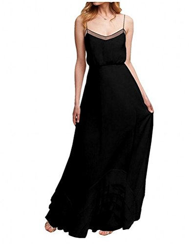 Prom Dress Summer Formal Gown Long Bridesmaid Chiffon Botong Black Burgundy Beach x8fTT1