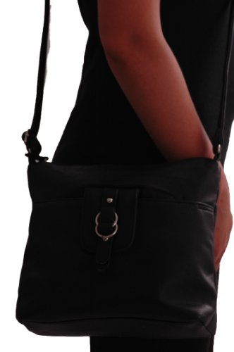 Womens Black Faux Cross Gillian Shoulder Ladies Bodybag EyeCatch Bag Leather qzxtwfA