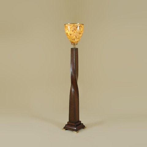 Maitland Smith 1820-006 Brown Leather Inlaid Torchere Floor Lamp, Tiger Penshell Shade, Antique Brass Accents