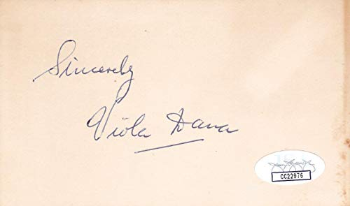 VIOLA DANA d 1987 Signed 3x5 Index Card Actress/A Christmas Carol CC22976 - JSA Certified