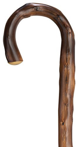 (Walking Cane - Men's Congo Men's crook handle, geunine Congo chestnut wood-scorched, with natural bark and natural taper, 36 long with rubber tip size varies. by King Of Canes )