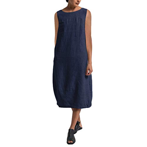 iPOGP Dress Women Summer Cotton and Linen Sleeveless Style Feminino Vestido Soild T-Shirt Casual Plus Size Loose Ladies Dress(Navy,XXXL)