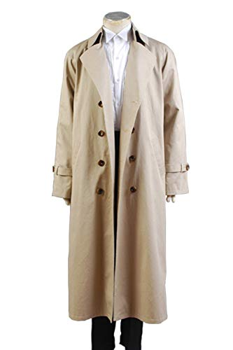GOTEDDY Halloween Castiel Cosplay Twill Trench Coat Long Costume (L) -