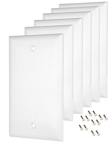 Pack of 6 Wall Plate Outlet Switch Covers by SleekLighting | Decorative Plastic White Look | Variety of Styles: Decorator/Blank / Toggle/Duplex / & Combo | Size: 1 Gang Blank