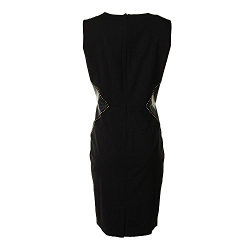 Calvin Klein Women's Sleeveless Side Mixed Material Dress, Black/Black, 12