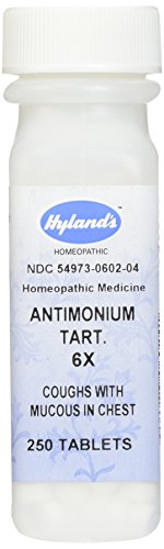 Hyland's Antimonium Tart. Tablets, Natural Homeopathic Coughs with Mucus in Chest Relief, 250 Count