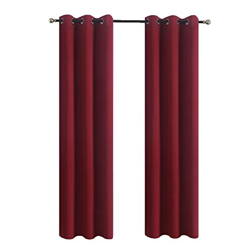Aquazolax Bedroom Curtain Panels Blackout Draperies - Home Decorations Thermal Insulated Solid Grommet Blackout Curtains/Drapes for Winter, 1 Pair, 42x72, Burgundy Red