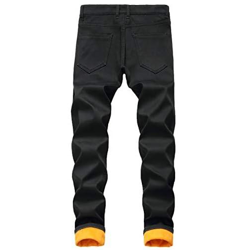 Men's Fleece Lined Stretch Skinny Jeans Winter Thicken Warm Denim Pants 3