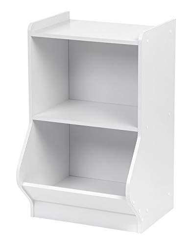 IRIS 2-Tier Storage Organizer Shelf with Footboard, White (Stackable Bookcase White)