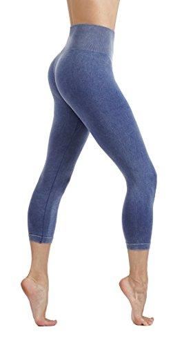 CodeFit Yoga Power Flex Dry-Fit Latest Fade Dye Active Capri with Mesh Compression Pants Workout Leggings (S USA 2-4, CFD15-L.Blue (Fade)) - Capri Dry