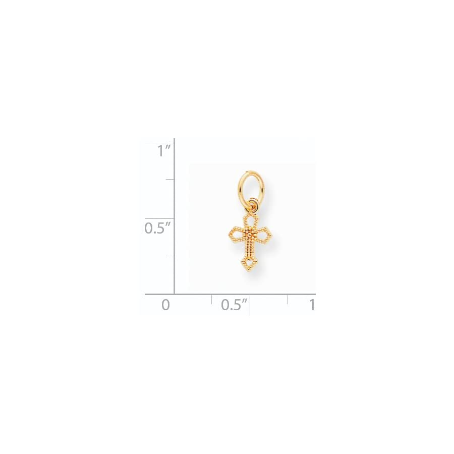 10k Yellow Gold Cross Charm (0.6in long)