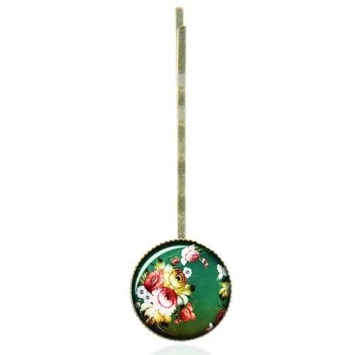 Epingle à cheveux au cabochon vintage aux fleurs folkloriques russes