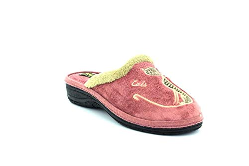 Sleepers Velour Cat Motif Cuff Mule Indoor//Outdoor Quality Slippers