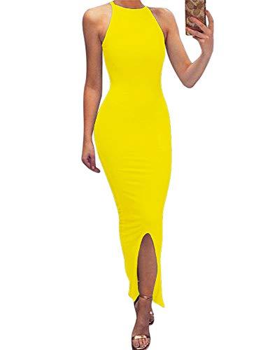 (GOBLES Women's Elegant Split Bodycon Sleeveless Evening Party Long Maxi Dress Yellow)