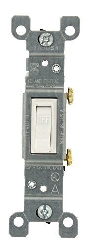 Leviton 1451-2WM 15 Amp, 120 Volt, Toggle Framed Single-Pole Ac Quiet Switch, Residential Grade, Grounding, 10-Pack, White ()