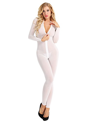 ranrann Women's Long Sleeve Double Zipper Sexy Sheer Mesh Turtleneck Bodysuit Jumpsuit Catsuit White Medium (Double Zipper Sleeve Long)