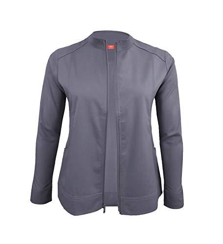 (M&M SCRUBS Women's Ultra Soft Front Zip Warm-Up Scrub Jacket (Charcoal, 3X-Large))