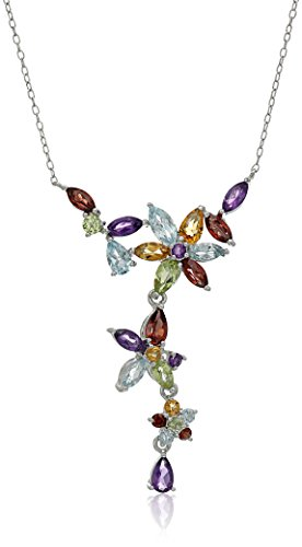 Rhodium Plated Sterling Silver Multi Gemstone Flowers Necklace, 16