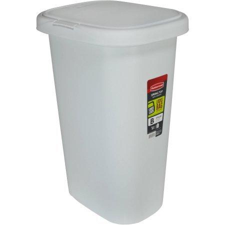 Rubbermaid LinerLock Spring Top Trash Can, 13 Gal, White