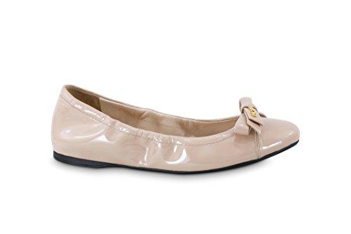 Prada Kvinners Patent Lær Logo Bow Knuse Ballett Flat, Cipria ...