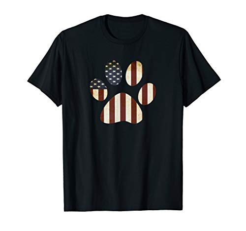 - Retro Design Stars Stripes USA American Flag Paw Print T-Shirt