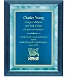 9 x 12 Blue Mirror Plaque Engraved with Blue Plate in Blue Frame