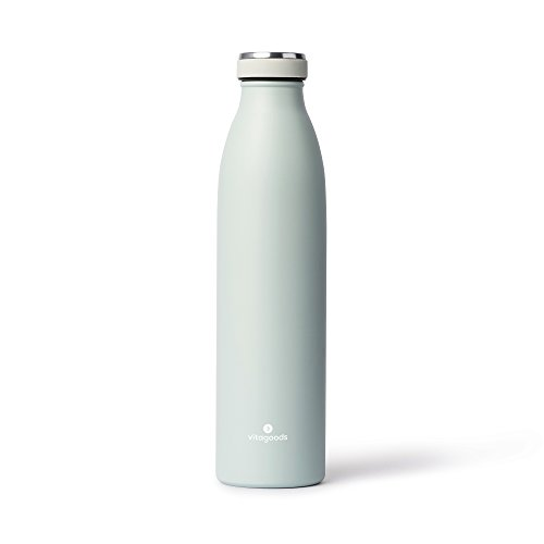Vitagoods Botella de Agua de Acero Inoxidable sellada al aspiradora, Azul Claro, 750ml