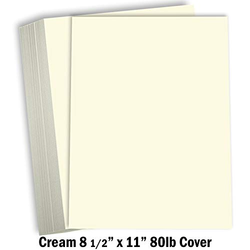 "Cream Colored Cardstock Thick Paper - 8 1/2 x 11"" Heavy Weight 80 lb Cover Card Stock for Printer - 50 Pack"