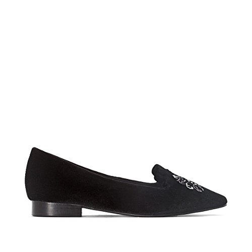 Patent Ballerina Slipper Black - La Redoute Collections Womens Embroidered Slippers Black Size 36
