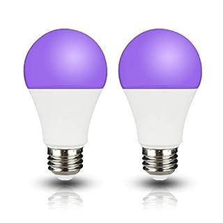 Yueximei UV A19 7W LED Black Light Bulb, UVA Level 390-400nm,E26 Medium Base 100-240V, Glow in The Dark for Blacklight Party, Fluorescent Poster, Neon Glow(2 Pack)