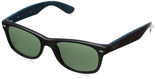 Ray-Ban RB2132 New Wayfarer Sunglasses, Matte Black/Green, 52 mm (Ray Ban Online Shop)