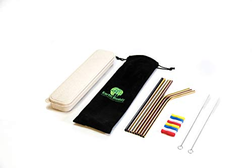 Eco-Friendly 8 Reusable Multi-color Stainless Steel Drinking Straws, 8 Silicone Tips, Beautiful Carrying Case, 2 Cleaning Brushes and Velvet Storage Pouch (Multi-Color, 8) by Earth Buddy