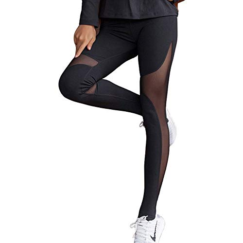 (CROSS1946 Sexy Women's High Waist Sexy Skinny Patchwork Thigh Mesh Yoga Pants Leggings Soft Fitness Capris ,Black2,Medium)