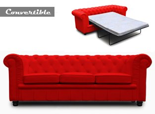chesterfield convertible 3 places rouge canap chesterfield en crote de cuir - Canape Chesterfield Rouge Cuir