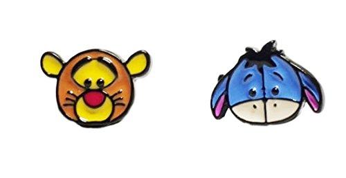 (Winnie the Pooh's Tigger & Eeyore Characters Metal Enamel Stud Earrings)