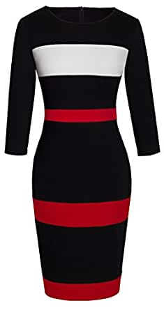 HOMEYEE Women's Voguish Colorblock Stripe Pencil Dress B275 (S, 3/4-Black)